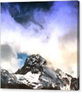 Alpine Mountains And Clouds Watercolour Canvas Print