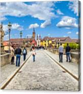 Alte Mainbrucke In The Historic City Of Wurzburg Canvas Print
