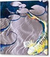 Aluminum Print, Koi Fish Print On Metal. Fish Art - Yellow - Blue - Green 3d Painting Of Koi Fish, A Canvas Print