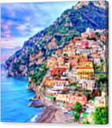 Amalfi Coast At Positano Canvas Print
