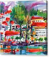 Amalfi Coast Italy Expressive Watercolor Canvas Print