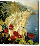 Amalfi Italy Italia Vintage Poster Restored Canvas Print