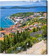 Amazing Historic Town Of Hvar Aerial View Canvas Print