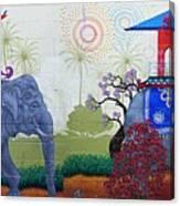 Amazing Wall Art Painting Or Elephants Canvas Print