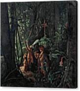 Amazonian Indians Worshiping The Sun God Canvas Print