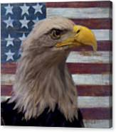 American Bald Eagle And American Flag Canvas Print