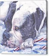 American Bulldog Christmas Canvas Print