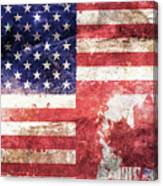 American Canadian Tattered Flag Canvas Print
