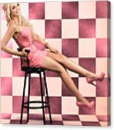 American Culture Pin Up Girl Inside 60s Retro Diner Canvas Print