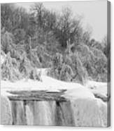 American Falls In Winter In Black And White Canvas Print