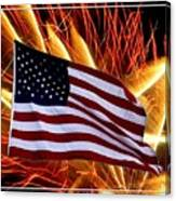 American Flag And Fireworks Canvas Print