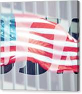 American Flag In Front Of Business Building  Canvas Print