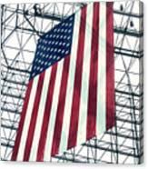 American Flag In Kennedy Library Atrium - 1982 Canvas Print