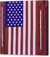American Flag In Red Window Canvas Print