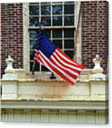 American Flag On An Old Building Canvas Print