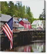 American Flag On Creek Street Ketchikan Alaska Canvas Print