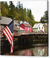 American Flag On Creek Street Ketchikan Alaska Painting Canvas Print