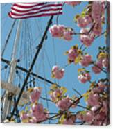American Flag With Cherry Blossoms Canvas Print