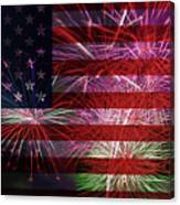American Flag With Fireworks Display Canvas Print