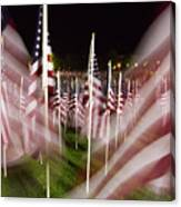 American Flags Tribute To 9-11 Canvas Print