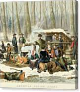 American Forest Scene Maple Sugaring Canvas Print