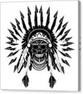 American Indian Skull Icon Background, Black And White  Canvas Print