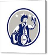 American Patriot Carry Beer Keg Circle Retro Canvas Print