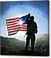 American Soldier With Flag Canvas Print
