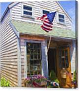 Bike And Usa Flag - Americana Series 04 Canvas Print