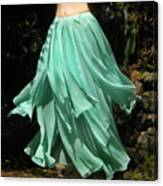 Ameynra Design Aqua-green Chiffon Skirt Canvas Print