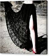 Ameynra Gothic Fashion By Sofia Metal Queen. Lace Skirt 168 Canvas Print