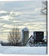 Amish Buggy At Morning Canvas Print