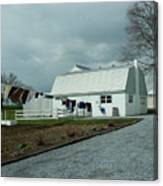 Amish Clothesline And A Barn Canvas Print