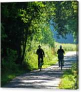 Amish Couple On Bicycles Canvas Print