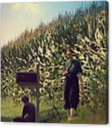 Amish Girls Watermelon Break Canvas Print