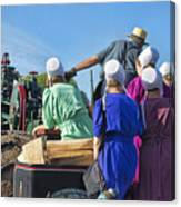 Amish On Steam Engine Canvas Print