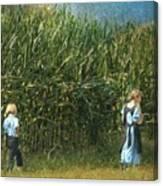 Amish Siblings In Cornfield  Canvas Print