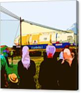 Amish Watching A Nuclear Reactor Go By Canvas Print