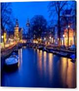 Amsterdam - A Canal Scene At Night . L B Canvas Print