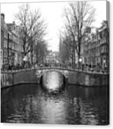 Amsterdam Canal Bridge Black And White Canvas Print