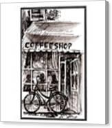 Amsterdam Coffe Shop Black And White Canvas Print
