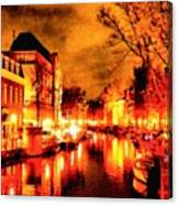 Amsterdam Night Life L A S Canvas Print