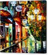 Amsterdam Night Rain Canvas Print