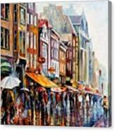 Amsterdam Rain - Palette Knife Oil Painting On Canvas By Leonid Afremov Canvas Print
