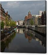 Amsterdam - Singel Canal With The Floating Flower Market Canvas Print