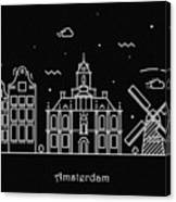 Amsterdam Skyline Travel Poster Canvas Print