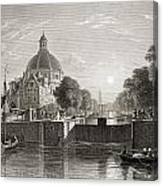 Amsterdam, View On The Singel. From The Canvas Print