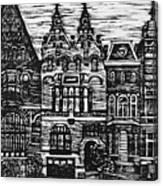 Amsterdam Woodcut Canvas Print