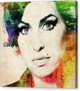 Amy Winehouse Colorful Portrait Canvas Print