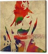 Amy Winehouse Watercolor Portrait Canvas Print